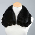 Luxury Short Fox Fur Scarf Women Winter Warm Neck Wrap Rex Rabbit Fur Collar - Black