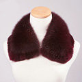 Luxury Short Fox Fur Scarf Women Winter Warm Neck Wrap Rex Rabbit Fur Collar - Claret Red