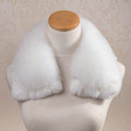 Luxury Short Fox Fur Scarf Women Winter Warm Neck Wrap Rex Rabbit Fur Collar - White