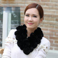 The New Rex Rabbit Fur Scarf Women Winter Neck Wrap Knitted Fur Ball Collar Muffler - Black