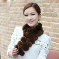 The New Rex Rabbit Fur Scarf Women Winter Neck Wrap Knitted Fur Ball Collar Muffler - Coffee
