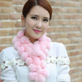 The New Rex Rabbit Fur Scarf Women Winter Neck Wrap Knitted Fur Ball Collar Muffler - Pink