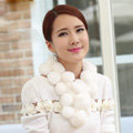 The New Rex Rabbit Fur Scarf Women Winter Neck Wrap Knitted Fur Ball Collar Muffler - White
