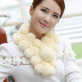 The New Rex Rabbit Fur Scarf Women Winter Neck Wrap Knitted Fur Ball Collar Muffler - Yellow