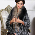 Top Grade Jacquard Weave Wool Shawls Whole Fox Fur Scarf Women Pashmina Thicken Tassels Cape - Gray