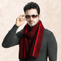 Top Grade Long Britain Stripe Wool Scarf Man Winter Thicken Cashmere Knitting Muffler - Red