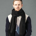 Top Grade Long Solid Color Wool Scarf Man Winter Thicken Cashmere Large Tassels Muffler - Black