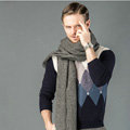 Top Grade Long Solid Color Wool Scarf Man Winter Thicken Cashmere Large Tassels Muffler - Dark Gray