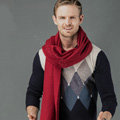 Top Grade Long Solid Color Wool Scarf Man Winter Thicken Cashmere Large Tassels Muffler - Dark Red