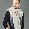 Top Grade Long Solid Color Wool Scarf Man Winter Thicken Cashmere Large Tassels Muffler - Light Gray