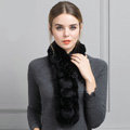 Unique Rex Rabbit Fur Scarf Women Winter Warm Neck Wrap Knitted Fur Collar Muffler - Black