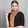 Unique Rex Rabbit Fur Scarf Women Winter Warm Neck Wrap Knitted Fur Collar Muffler - Camel