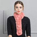 Unique Rex Rabbit Fur Scarf Women Winter Warm Neck Wrap Knitted Fur Collar Muffler - Skin Red