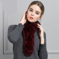 Unique Rex Rabbit Fur Scarf Women Winter Warm Neck Wrap Knitted Fur Collar Muffler - Wine Red