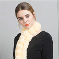Unique Rex Rabbit Fur Scarf Women Winter Warm Neck Wrap Knitted Fur Collar Muffler - Yellow