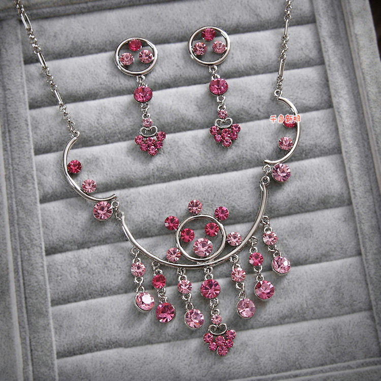 Buy wholesale classic pink wedding bridal accessories for Pink wedding jewelry sets