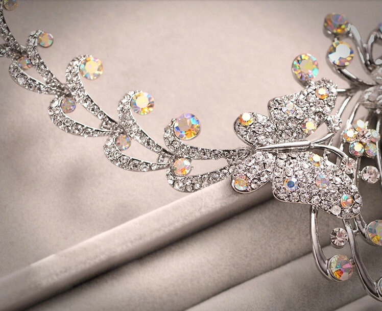 Buy Wholesale Classic Silver Plated Wedding Bridal Jewelry Butterfly Peacock Crystal Necklace