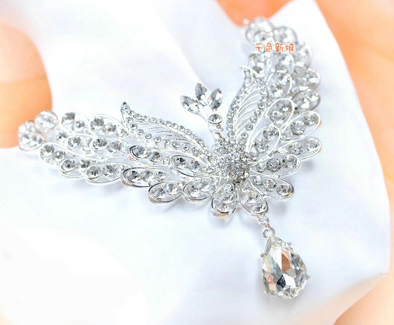 Name Clic Wedding Jewelry Set For Bridal Crystal Hollow Phoenix Tiara Earrings Necklace Sets