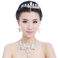 Elegant Wedding Jewelry Sets for Bridal Rhinestone Tiara & Earrings & Crystal Butterfly Necklace