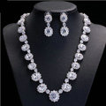 Luxury Banquet Wedding Jewelry Sets Diamond Flower Stud Earrings & Bridal Zircon Statement Necklace