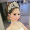 Luxury Baroque Wedding Jewelry Large Crystal Flower Bridal Crown Rhinestone Tiaras Hair Accessories