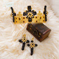 Luxury Baroque Wedding Jewelry Sets Crystal Gem Black Cross Bridal Rhinestone Tiara & Earrings