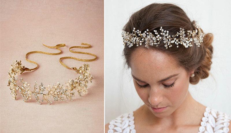 buy wholesale luxury beaded crystal hair vine pearl gold hair band