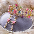 Luxury Sweet Wedding Jewelry Sets Crystal Pearl Flower Bridal Rhinestone Tiara & Earrings