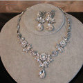 Luxury Wedding Banquet Jewelry Butterfly Flower Crystal Bridal Necklace Earrings Sets