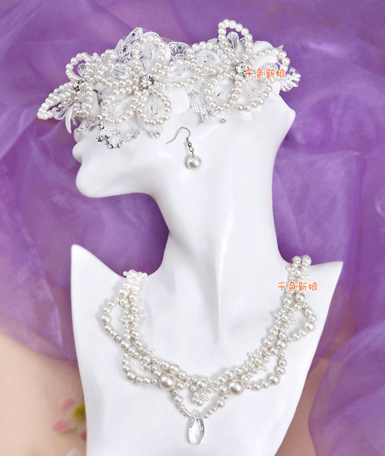 buy wholesale luxury wedding bridal accessories pearl lace flower