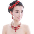 Luxury Wedding Jewelry Sets for Bridal Red Crystal Flower Tiara & Earrings & Butterfly Necklace