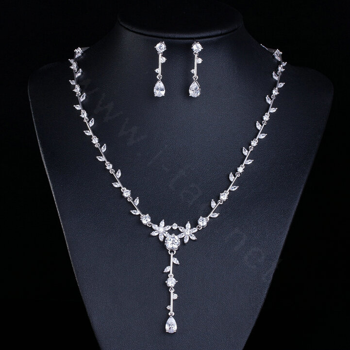 Buy Wholesale Simple Banquet Wedding Jewelry Sets Flower Waterdrop