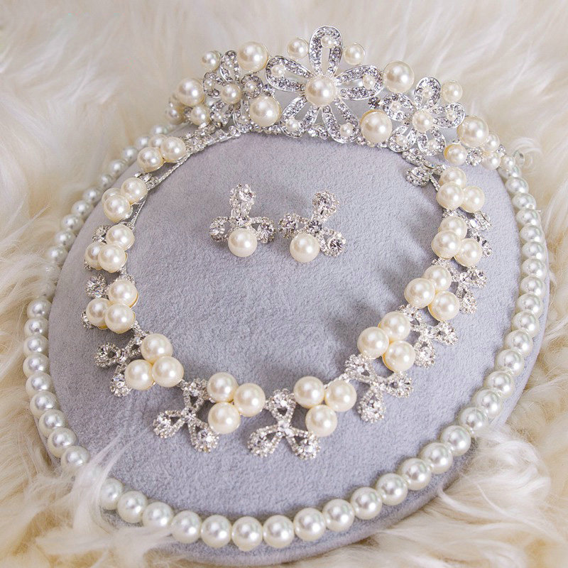 Simple pearl wedding jewelry sets