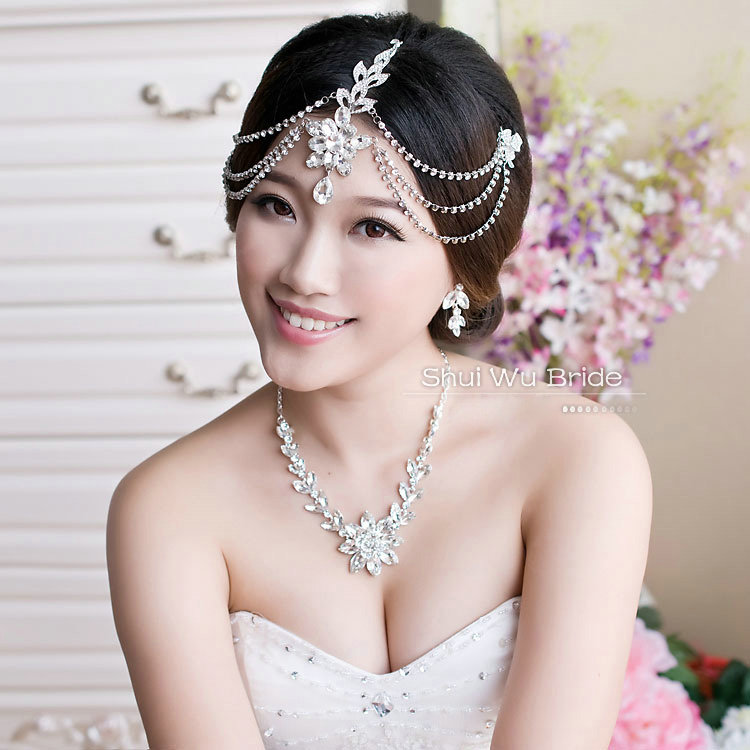Name Unique Wedding Jewelry Sets Flower Crystal Headdress Tiara Earrings Bridal Rhinestone Necklace