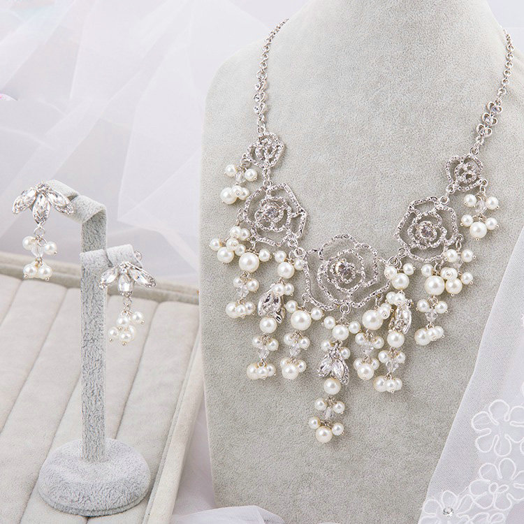 Name Unique Wedding Jewelry Sets Pearl Flower Crystal Lace Headdress Earrings Bridal Rhinestone Necklace
