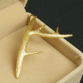Antique Simple Retro Woman Gold Plated Delicate Alloy Antlers Side Clip Hair pin Accessories