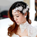 Classic Wedding Headdress Rhinestone Crystal Lace Lily Flower Bridal Headband Hair Accessories
