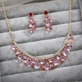Elegant Bride Wedding Alloy Square Pink Rhinestone Crystal Necklace Earrings Set Bridal Party Gift