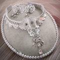 Elegant Bride Wedding Lace Flower Rhinestone Crystal Necklace Earrings Set Bridal Jewelry
