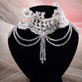 Elegant Shining Rhinestones Lace Flower Tassel Shoulder Deco Necklace Wedding Bridal Jewelry
