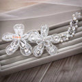 Elegant Wedding Headdress Jewelry By hand Lace Flower Crystal Bridal Headband Hair Accessories
