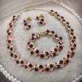 Elegant Wedding Red Gem Alloy Rhinestone Crystal Necklace Earrings Bracelet Set Bridal Party Gift