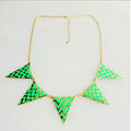 Europe Fashion Women Green Gold-plated Punk Big Triangle Metal Bib Necklace Clavicle Chain