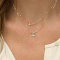 European Fashion Simple Women Double layer Letter U Rhinestone Gold-plated Necklace Clavicle Chain