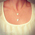 European Fashion Simple Women Double layer Triangle Gold-plated Necklace Clavicle Chain