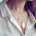 European Fashion Women Multi layer Gold-plated Cross Irregular Metal Pendant Necklace Clavicle Chain