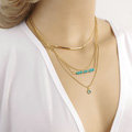 European Fashion Women Multi layers Turquoise Eyes Curved Pipe Gold-plated Necklace Clavicle Chain