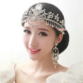 European Wedding Flower Rhinestone Crystal Tassel Water-drop Tiaras Bridal Large Crown Hair Accessories