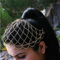 Fashion Exaggerated Woman Gold Plated Alloy Mesh Wave Tassel Hair Headband Accessories