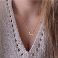 Fashion Personality Simple Women Metal Circle Ring Gold-plated Short Necklace Clavicle Chain